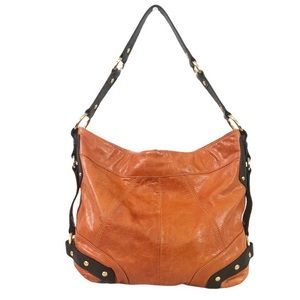 TASCHE Orange Leather Hobo Bag with Wallet